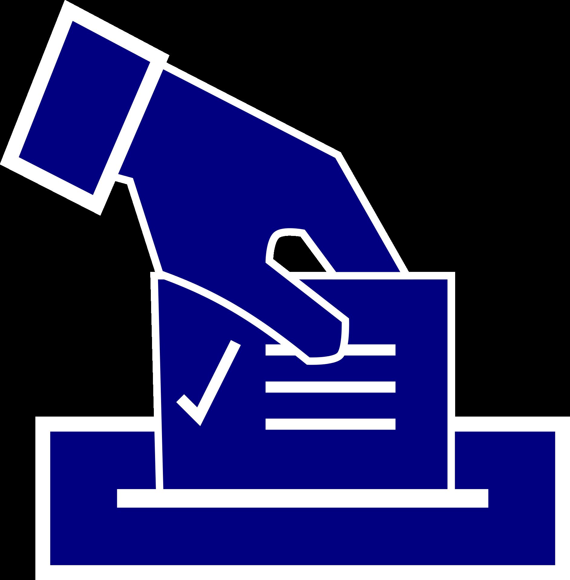 Piktogram einer Hand die einen Wahlzettel in eine Urne wirft
