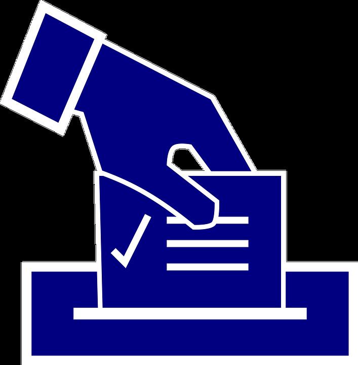 Symbol einer Hand, die einen Stimmzettel abgibt in blau