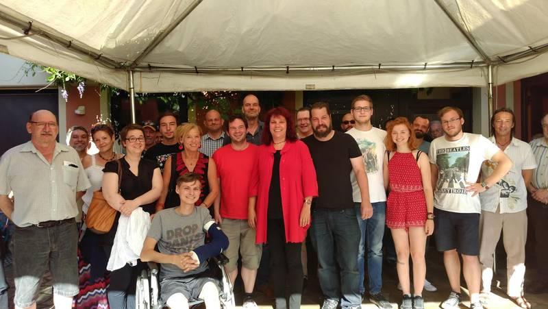 Katrin Werner mit Mitglieder*innen der Kreisverbände Trier und Trier-Saarburg der LINKEN (Fotograf: Christian Humm)